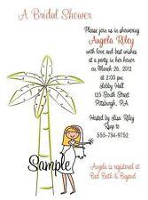 20 Personalized Custom Palm Tree Beach Bride Bridal Shower Wedding Invitations