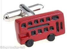 PAIR OF NEW RED LONDON BUS CUFFLINKS SHIRT NOVELTY GIFT DRIVER UK DOUBLE DECKER