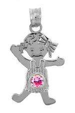 White Gold June Birthstone Alexandrite Pink Round CZ Baby Girl Charm Pendant