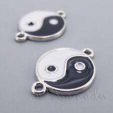 5 Yin Yang Charm Connectors Antique Bronze Tone BC867