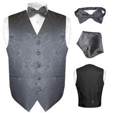 Men's Paisley Design Dress Vest & Bow Tie CHARCOAL GREY Color BOWTie Set