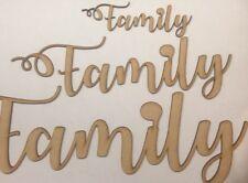 Wooden Family Word Cutout  MDF Laser Cut Craft Blank Wedding Family Tree