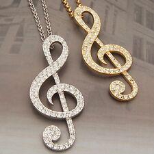 "2-1/8"" x 7/8"" Rhinestone MUSIC TREBLE CLEF Pendant 27"" Necklace"