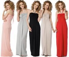 Elegantes Kleid Lang Maxi Kleid am Hals zum Binden Gr. 36 38 40 42 44 46, B24