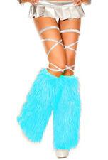 Music legs turquoise faux fur leg warmers