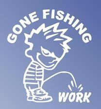 Gone Fishing Calvin Peeing Window Sticker Decal