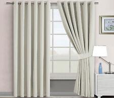 Extra Long 300cm Drop Eyelet Curtains Light Blocking Blackout Matching Tiebacks