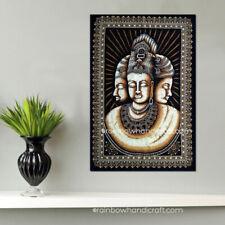 Lord Brahma Vishnu & Shiva Indian Trinity batik wall hanging tapestry decor art