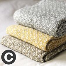 Luxury 100% Cotton ECO Grey / Ochre / Beige Sofa Bed Chair Throw Blanket Fringed