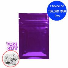 2.25*3.5in Glossy Mylar Foil Purple Ziplock Bag w/ Silica Gel Desiccant B06