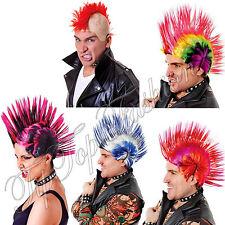 New Men's 70s 80s White/Blue Red/purple Multi Spike Punk Rock Mohican WIG Fancy