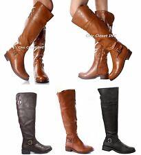 NEW Women Sexy Faux Leather Long Knee High Flat MOTO Western Riding Boot Shoe Sz