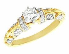 Genuine 0.6Ct Round Cut Diamond Vintage Engagement Ring 14K Gold