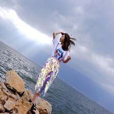 Women Overscale Sequin Mermaid Iridescent Bodycon Pencil Midi Tea Length Skirt