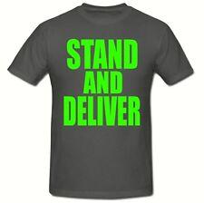 STAND & DELIVER 80's T SHIRT, (GREEN LOGO) MEN'S T SHIRT,SM-2XL,FANCY DRESS 80's