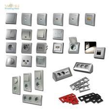 DELPHI Schalterprogramm silber Schalter Dimmer & Steckdosen mit Rahmen Unterputz