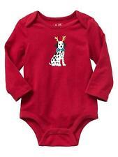 NWT BABY GAP BOY'S ADMIRAL RED PUPPY BODYSUIT 100% COTTON (0-3 M)