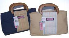 Vineyard Vines Wood Handle Canvas Satchel Navy Khaki Handbag Purse NEW NWT