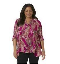 NWT1X,2X,3X Simply Emma Fuchsia Long Sleeve Chiffon Tunic Top Blouse Shirt Print