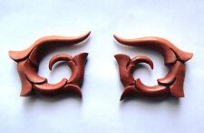 Pair Organic Tribal Floral Wood Spirals Ear Expander Taper Plug GAUGES (10G-00G)
