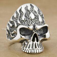 Flame Fire Skull 925 Sterling Silver Mens Biker Gothic Ring 8S005B UK Size P½~Z1