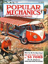 PLAQUE ALU DECO AFFICHE POPULAR MECHANICS COMBI VW 1955