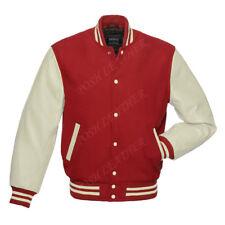 Varsity Men's Letterman Baseball bomber Jacket maroon Wool & whit Leather Sleeve