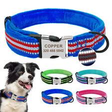 Plush Padded Dog Collars Reflective Personalised Custom ID Nameplate Engraved
