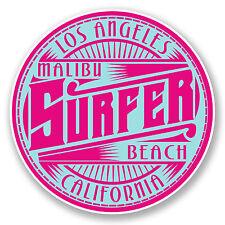 2 x 10cm Malibu Surfeur Plage Los Angeles USA Vinyle Autocollant voyage bagages # 6006