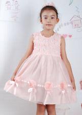 Niña Fiesta De Las Flores Concurso Vestido Algodón Crema Rosa Salmón 12-18 3-4