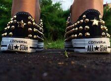 Scarpe Converse Nere Basse Borchiate con Borchie Oro Studs Gold Star Clean