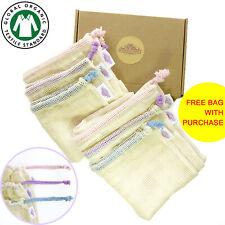 Reusable Produce Bags - GOTS Organic Cotton Mesh Bag Set Eco Zero Waste Gift Box