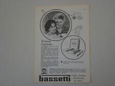 advertising Pubblicità 1958 BASSETTI
