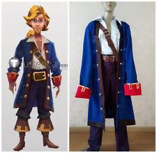 Monkey Island Guybrush Ulysses Pirate Blue Cosplay Costume!free shipping