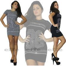 Vestito donna mini abito casual maglia lunga strass maniche corte nuovo