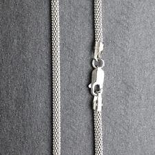 ITALY 925 Sterling Silver Coreana Chain Necklace-Rhodium-Popcorn Chain-Mesh