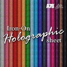 Holographic Iron-on Sparkle Hot Clothing Vinyl Transfer sheet 20cm x 25cm craft