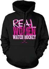 Real Women Watch Hockey Crossed Sticks Puck Goal Ice Rink Sports Hoodie Pullover