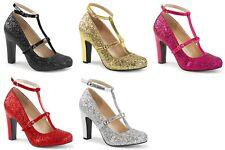 """PLEASER Pink Label Queen-01 Glitter Party Wedding Drag 4"""" Heels Women's 8-15"""