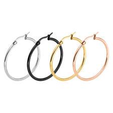 Hoop Earrings Sleeper Large Round Silver Gold Silver Black Pairs