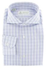 $450 Luigi Borrelli Light Blue Plaid Cotton Shirt - Extra Slim - (225)