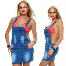 10704 Jeansskirt Gonna Jeans Minigonna Spalline Salopette Blu 5 Taglie