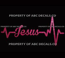 Heart Beat Line WORD JESUS Faith Christian Bible Love CAR DECAL METAL STICKER