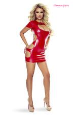 Sexy Abito Vestito Scollato Aderente Rosso Wetlook S/M L/XL Fashion GLAMOUR