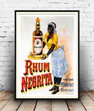 Rhum Negrita :  Vintage Alcohol advert ,  Poster reproduction.