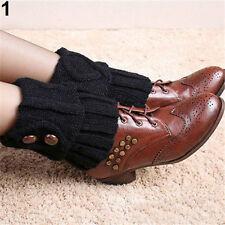 Women Winter Leg Warmers Socks Button Crochet Knit Boot Socks Toppers Cuffs Lot