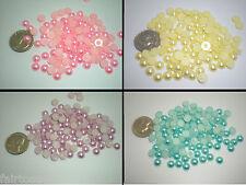 100 Pink/Green/Purple/Yellow YOU PICK 8 mm Flatback Pearls Resin Embellishments