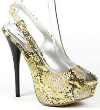 Yellow Black Brown Snake Skin Slingback High Stiletto Heel Platform Pump Qupid