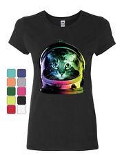 Space Cat Cotton T-Shirt Astronaut Kitten Neon Galaxy