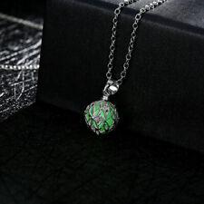Kugel Anhänger Kette Silber Glow in the Dark Grün Cyan Lavendel leuchtet Ornamen